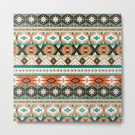 Earthy Aztec Tribal Geometric Metal Print