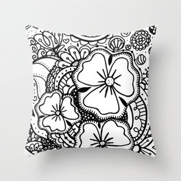 Three Large Flowers Zendoodle 062514 Throw Pillow
