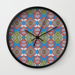 Wilma - Symmetrical Abstract Art in Blue, Orange and Green Wall Clock