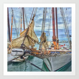 Boats in a Key West Harbor Art Print