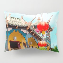 Travel photography Chinatown Los Angeles VI temple with lamps Pillow Sham