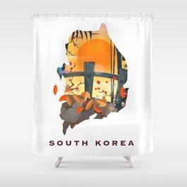 South Korea Map Shower Curtain