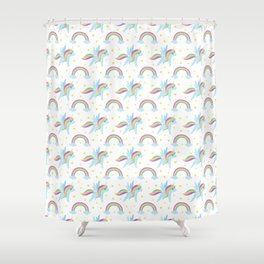 Cute abstract magical pink rainbow unicorn pattern Shower Curtain