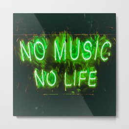Music Is Life - Green Neon Lights - 2020 Metal Print