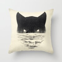 sale Throw Pillows featuring Wolfy by Dan Burgess