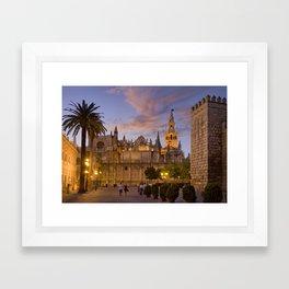 Seville, The Cathedral at dusk Framed Art Print