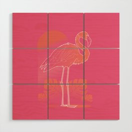 Flamingo Sunset Wood Wall Art