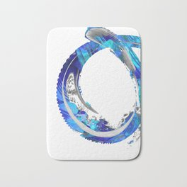 White And Blue Abstract Art - Swirling 4 - Sharon Cummings Bath Mat