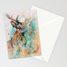 Abstract Deer Watercolor Stationery Cards