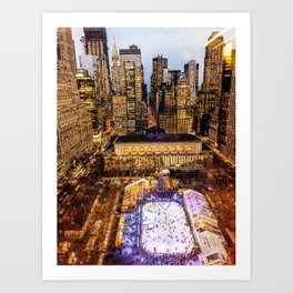 Window out to New York City at Christmas Art Print