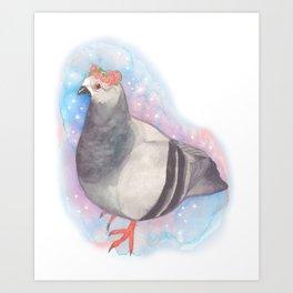 Flower Crown Pigeon Art Print