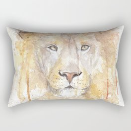 "Watercolor Painting of Picture ""African Lion"" Rectangular Pillow"