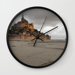Golden Hour at Le Mont Saint-Michel Wall Clock