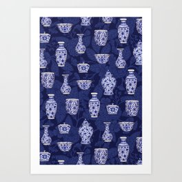 Blue & White Chinoiserie/ Delftware Pottery Pattern Art Print