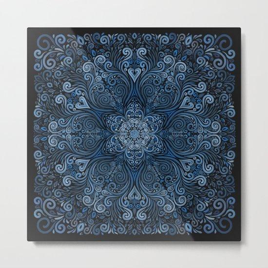 Blue 3D Mandala Ornate Pattern Metal Print