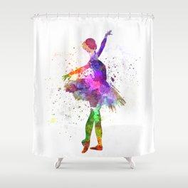 Young woman ballerina ballet dancer dancing with tutu Shower Curtain