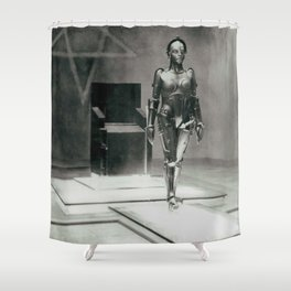 Metropolis poster print vintage photograph science fiction sci-fi cult classic film black and white movie still photograph Shower Curtain