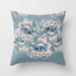 Blush Blue Peony Flower Bouquet #1 #floral #decor #art #society6 Throw Pillow