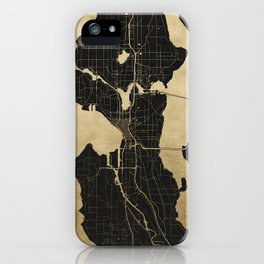 Seattle Black and Gold Map iPhone Case