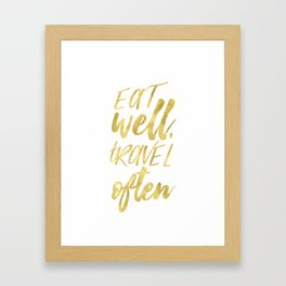 Eat well GOLDEN Framed Art Print