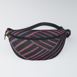 SAVANT black with bright pink and purple lines pattern Fanny Pack