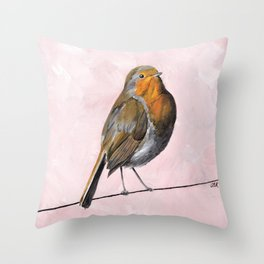 Robin Redbreast, Orange Bird Art Throw Pillow