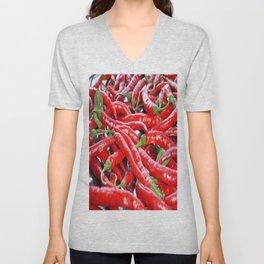 Market Fresh Red Chili Peppers Unisex V-Neck