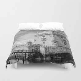 Belem Tower Black white photo Duvet Cover