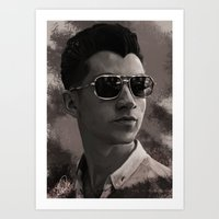 alex turner Art Prints featuring Alex Turner by Tune In Apparel