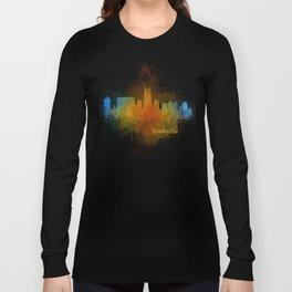 Nashville city skyline Tennessee watercolor v4 Dak Long Sleeve T-shirt