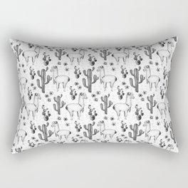 Llama Llamarama + Cactus Pattern Rectangular Pillow