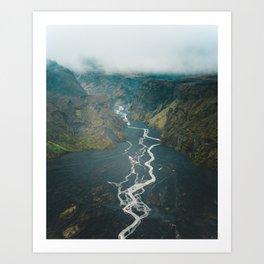 Braided Rivers in Þórsmörk, Iceland Art Print