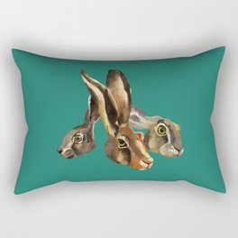 Hare illustration of three brothers - hand painted watercolor art blue - nature painting - Bunny Rectangular Pillow