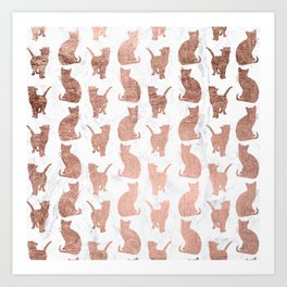 Modern faux rose gold cats pattern white marble Art Print