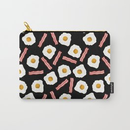 eggs and bacon breakfast food fight apparel and gifts black Carry-All Pouch