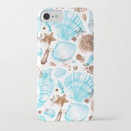 SeaShells Light Blue & Brown iPhone Case