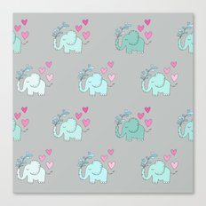 Elephant Love Walk Gray Canvas Print