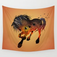 horse Wall Tapestries featuring Horse by nicky2342