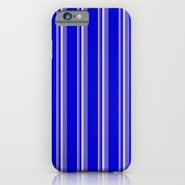 Light Gray, Slate Blue & Blue Colored Pattern of Stripes iPhone Case