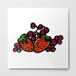Raspberry fruits. Fresh raspberries Metal Print
