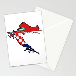 Croatia Map with Croatian Croat Flag Stationery Cards