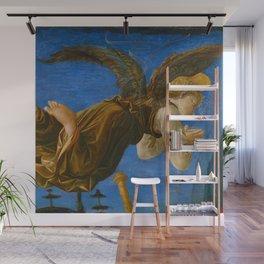 "Francesco Pesellino and Fra Filippo Lippi ""The Pistoia Santa Trinità Altarpiece"" angel 1. Wall Mural"