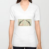 guns V-neck T-shirts featuring Guns & Flowers by fyyff