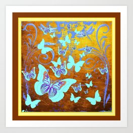Coffee Brown Celadon Color Butterflies Abstract & Yellow Art Print