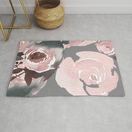 Pink Roses Grey Floral Rug