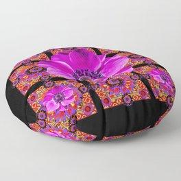 PURPLE ANEMONE FLOWER BLACK PATTERN Floor Pillow