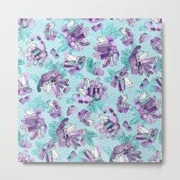 Amethyst Crystal Clusters / Violet and Aqua Metal Print