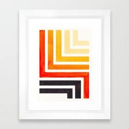 Orange Mid Century Modern Watercolor Colorful Ancient Aztec Art Pattern Minimalist Geometric Pattern Framed Art Print
