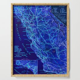 Blue California map, 1894. Serving Tray