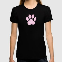 Abstract Pink Ink Dog Paw Print T-shirt